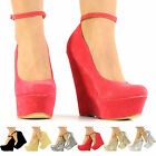 NEW LADIES ANKLE STRAP PLATFORM SANDALS WOMEN VERY HIGH HEEL WEDGES SIZE 3 - 8