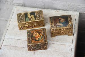 Vintage italian religious 3 small wood carved trinket jewelry box