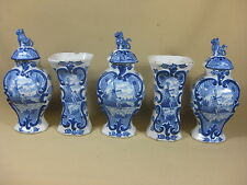 ANTIQUE DUTCH DELFT 5-PIECE GARNITURE SET 1800 MARKED WINDMILL