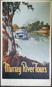 MURRAY RIVER TOURS RAILWAY TRAVEL POSTER ARTIST PROOF POSTER SIGNED FAY PLAMKA