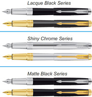 Parker Aster Premium Ink Fountain Pen Gold and Chrome Trim Steel Black Frontier