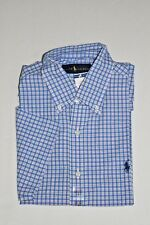 RALPH LAUREN RL BUTTON DOWN SHORT SLEEVE DRESS SHIRT SMALL BLUE FUSCHIA NEW NWT
