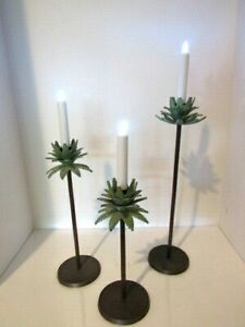 Vintage Cast Iron Tropical Palm Tree Candle Holders with 4 Tier Palm Set of 3