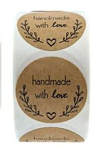 50 x 'handmade with love' Olive Branch Design Stickers/Seals Natural 25mm Round