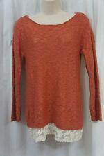 Hippie Rose Sweater XS Rosebud Red Ivory Crochet Knit Lace Hem Sweater Top