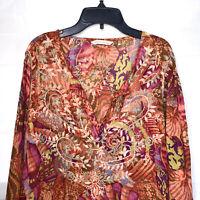 Soft Surroundings Tunic Sz Petite Medium Embroidery Boho Top Pullover Cotton