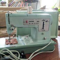 Beautiful Mint Green Vintage Singer 338 Sewing Machine (1964)