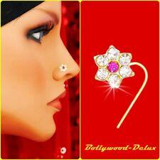 Bollywood Nasen Piercing Strass Pink Nasenstecker Indien Nose Pin Model N-47