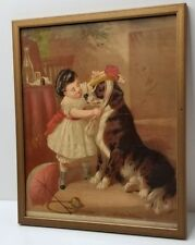 """Victorian Lithograph """"THE PETS TOILET"""" Framed St Bernard Dress up with Girl"""