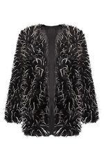 Women Faux Fur Mongolian Clubbing Long Trench Jacket Coat Outwear 8-16 Black 12