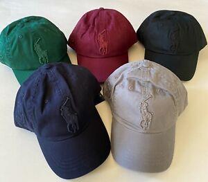 $55 NWT Mens Polo Ralph Lauren Big Pony Cotton Chino Adjustable Baseball Cap Hat