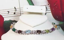 7 Natural Gemstones 7 x 5mm & CZ With 925 Sterling Silver Bracelet. SS0003