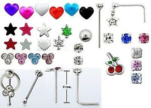 Good selection 25 x nose bars/studs gem cherries hearts stars dolphin 925 silver