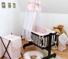 7 Piece Baby Crib Bedding Set Fits Swinging/Rocking Cradle Teddies Ladders Pink