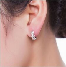 Tiny Hugger Earrings Child or Adult huggie Silver 3 Tiny flowers Crystal Centers