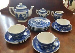 Vintage Blue Willow 16 pc Childs Tea Set