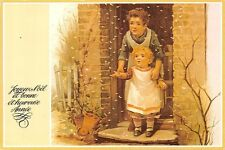 Mother with Child at House Door Snowing, Happy New Year Joyeux Noel