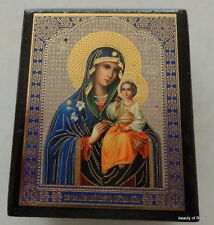 Russian   wooden DECOPAGE ICON BOX  Mother of God with child