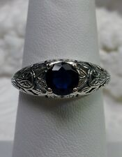 Edwardian Wedding Sim Sapphire Sterling Silver Filigree Ring {Made To Order}