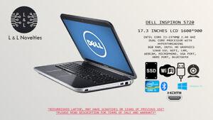 DELL INSPIRON 5720, 17.3 IN, INTEL CORE I3, 8GB RAM, 120GB SSD, CAM, WIN10