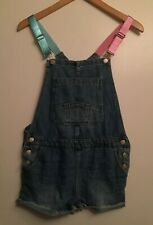 NWT! ZARA Girl's Size 13-14 Shortalls Soft Denim Short Overalls Pink/Blue Straps