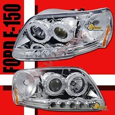 97-03 Ford F-150 Pickup / Expedition Halo LED Projector Headlights RH + LH