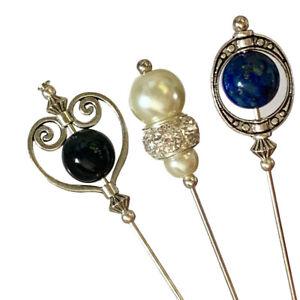 Hatpins 5inch Long Lapis Lazuli, Glass Pearl And Onyx Bead Wedding Hats Brooch
