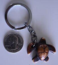 Wood Carved Turtle Tortoise Shaped Key Chain Charm Pendant #20485
