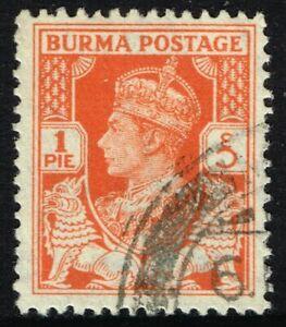 SG 18b BURMA 1940 - 1p RED-ORANGE - USED