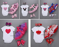 Infant Baby Newborn Kids Girl Headband+Romper+Skirt+Shoes Outfit Clothing Set