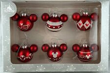 Disney Parks Mickey Mouse Ears Red & White Christmas Holiday Ornament Set of 6