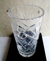 """Vintage Bohemian Czech Hand Cut Glass Vase - Heavy Chunky Lead Crystal 7"""" Tall"""