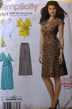 UNCUT Simplicity 0494 Misses Knit Wrap Dresses, Tunic, Pants, sz 16 18 20 22 24