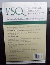 P.S.Q. -- Political Science Quarterly ~ Winter 2015 - 2016 issue - events & idea