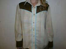 vtg PEARL SNAPS WOMENS WESTERN SHIRT Tan Plaid Brown Yoke Blue Piping 70s 80s