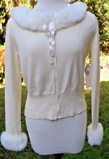 "Glamorous New Vintage Creamy White LgSlv  ""Nine West"" Sweater w/Faux Fur Trim Lg"