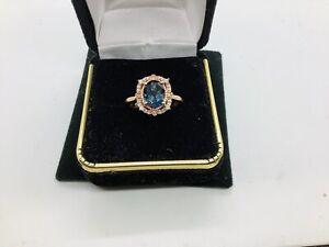 10k rose gold,London Blue Topaz,diamonds,gemstone ring size 7