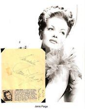 Janis Paige & Jack Slate Autograph Romance on the High Seas Gals and a Guy