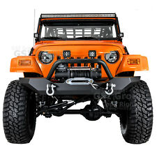 Rock Crawler HD Front Bumper+Winch Plate+2x D-rings for 97-06 Jeep Wrangler TJ