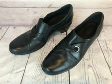 Clarks Bendables Size 9.5 M Black Leather Slip On Loafers Shoes #38476 h3k