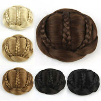 6Color Women Braided Clip In Synthetic Hair Bun Chignon Donut Roller Hairpieces