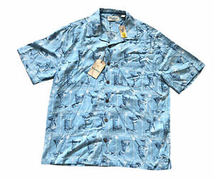 NWT CARIBBEAN Silk Blend Mens L Short Sleeve Hawaiian Camp Shirt Tropical Drinks