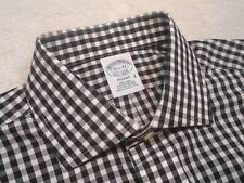 Brooks Brothers Easy Care Cotton Black Gingham Check Dress Shirt NWT 15.5-33 $92