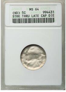 ER069 No Date 5C Jefferson Nickel -- Struck Thru Late Cap Die ANACS MS64