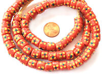 Ghana Matched Coral multi Colored handmade Recycled glass African trade beads