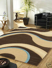Extra Large Chocolate Brown Beige Teal Blue Rug 200x285