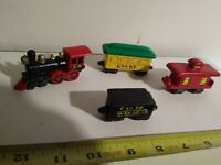 Vintage? Set of 4 Trains, Porcelain, Ceramic, Pottery, Handmade? Locomotive, car