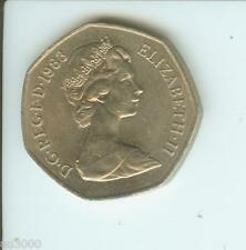 1983 GREAT BRITAIN LARGE OLD 50  PENCE 50p UNITED KINGDOM COIN GB UK ENGLAND
