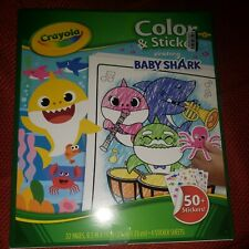 Crayola Color N' Sticker Pages  Baby Shark 071662208134 new open