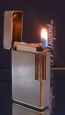 ST DuPont Lighter Silver Gold Line 1 Large Functional Warranty Perfect Works K88